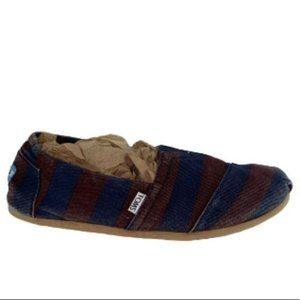 TOMS Navy & Rust Striped Canvas Shoe Mens 9
